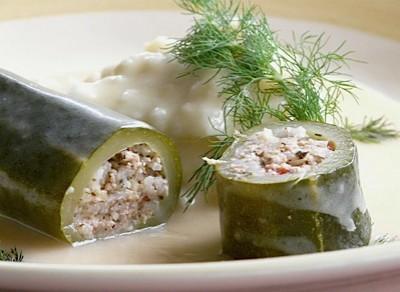 Zucchine ripiene in salsa avgolemono