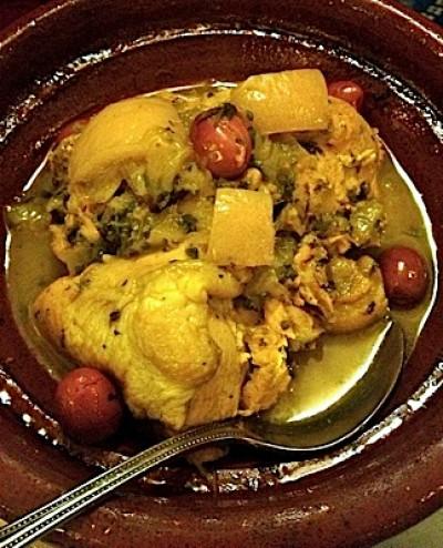 Tajine di pollo, limoni in salamoia e olive
